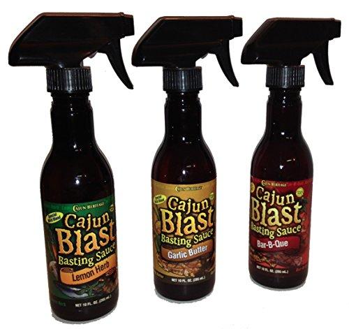 Cajun Blast Basting Sauce Bundle - 1 each of Garlic Butter, Lemon Herb and Hot and Spicy Bar-B-Que Basting Sauces, 10 Fluid Ounces each (3 Spray Bottles, 30 Fluid Ounces Total)