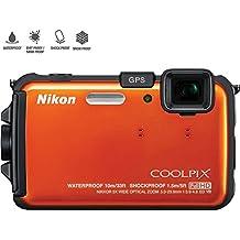 Nikon COOLPIX AW100 16MP Waterproof Shockproof Freezeproof Orange Digital Camera 26293B - (Certified Refurbished)