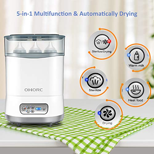 OMORC 550W Bottle Sterilizer and Dryer for Baby, 5-in-1 Multifunctional Electric Steam Sterilizer with Auto Power-off, Digital LCD Display for Sterilizing, Drying, Warming Milk, Heating Food by OMORC (Image #3)