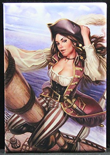 (Sexy Pirate Pinup Girl Refrigerator Magnet.)