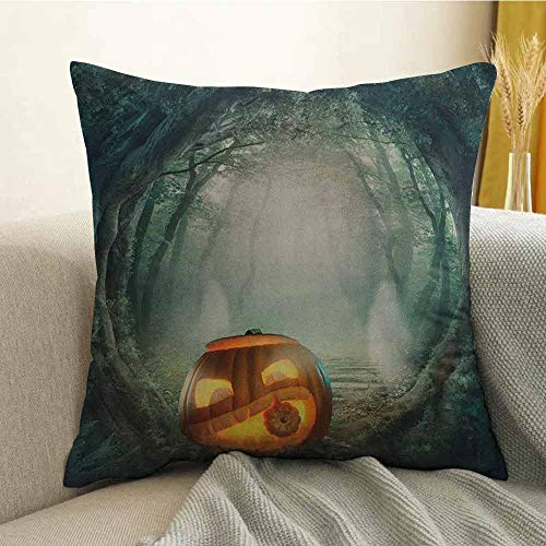 Halloween Silky Pillowcase Drawing of Scary Halloween Pumpkin Enchanted Forest Mystic Twilight Party Art Super Soft and Luxurious Pillowcase W20 x L20 Inch Orange Teal -