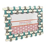 turquoise and gold picture frames - Rhinestone Jeweled Gold Turquoise Blue White Enamel 4 x 6 Picture Frame