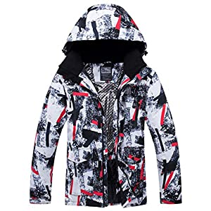 Printed Stripe Waterproof Ski Jacket, Ski Suit Windproof Snowear Winter Coat Insulated Jacket for Women