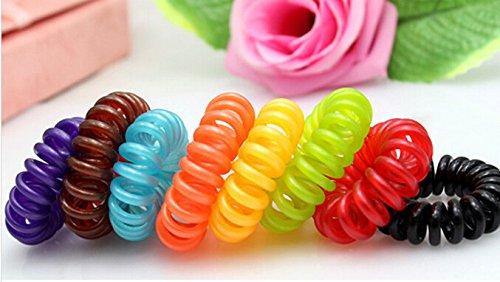 MyBeautyworld24 Coletero cable de teléfono elástico Espiral plástico Goma de pelo en sel set de 3