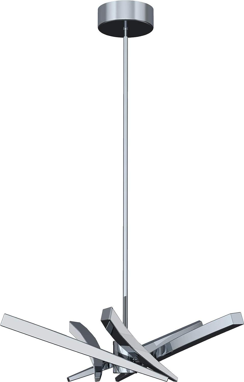 "Craftmade 40815-CH-LED Aura Foyer LED Chandelier Lighting, Chrome 5-Light (11"" W x 39"" H) 37 Watts"