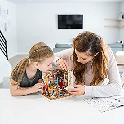 Hands Craft, DIY Miniature Dollhouse Kit with LED – Build Your Own Wooden Miniature Dollhouse Craft Kit for Adults and Teens | Makes for Women | (DG102 Sam's Study Library): Toys & Games