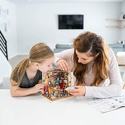 Hands Craft DIY Miniature Dollhouse Kit | 3D Model Craft Kit | Pre Cut Pieces | LED Lights | 1:24 Scale | Adult Teen | Sam's Study Library, 193 pcs.