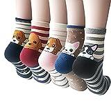 YSense 4-5 Pairs Womens Cute Funny Socks Casual Cotton Crew Animal Socks