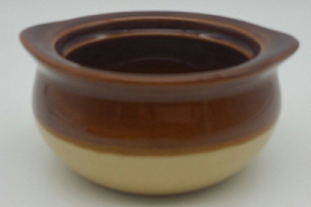 Set of 6 CAC Two Tone 12 oz Onion Soup Crock Brown and Ivory