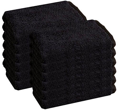Cotton Salon Towels - Gym Towel - Hand Towel - (12-Pack, Black) - 16 inches x 27 inches - Ringspun-Cotton, Maximum Softness and Absorbency, Easy Care - by HomeLabels