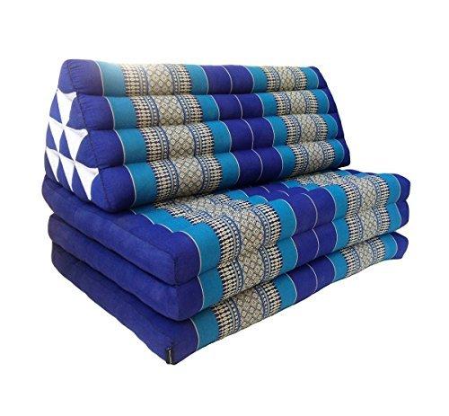 Leewadee XL Foldout Triangle Thai Cushion, 31.5x67x15 inches, Kapok, Blue