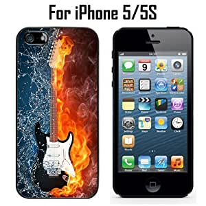 Flame Water Art Guitar Custom Case/ Cover/Skin *NEW* Case for Apple iPhone 5/5S - Black - Rubber Case (Ships from CA) Custom Protective Case , Design Case-ATT Verizon T-mobile Sprint ,Friendly Packaging - Slim Case by icecream design