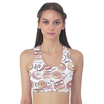 CowCow Pink Donut Pattern Women's Sport Bra, Pink-XS