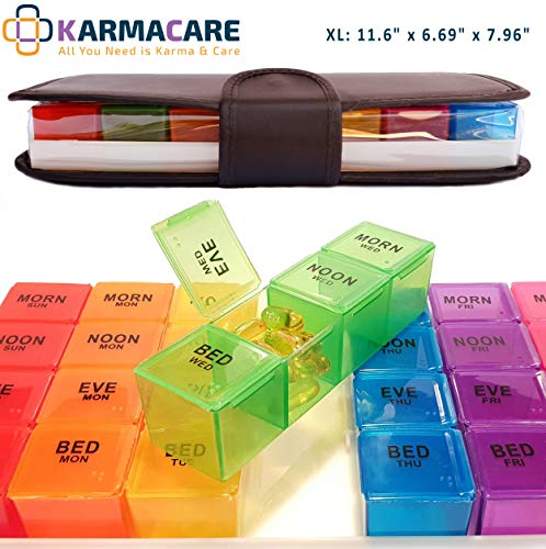 Extra Large Pill Organizer - 7 Day Weekly Pill Organizer Box and Travel Case for Medicine and Supplements - 4 Times a Day AM/PM Reminder Planner - Unique Braille Writing for the Visually Impaired from KARMACARE