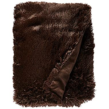 Chic Home Elana Shaggy Faux Fur Supersoft Ultra Plush Decorative Throw Blanket, 50 x 60 , Brown