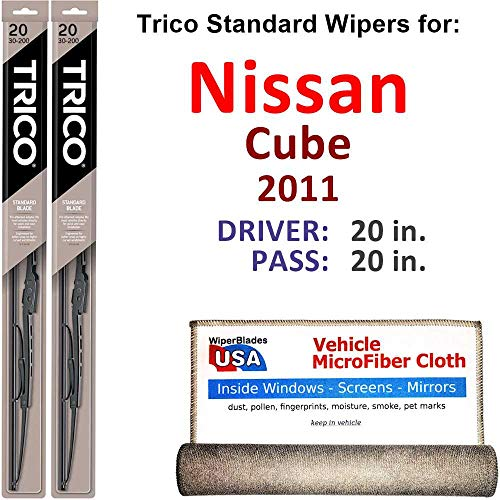 Wiper Blades for 2011 Nissan Cube Driver & Passenger Trico Steel Wipers Set of 2 Bundled with Bonus MicroFiber Interior Car -