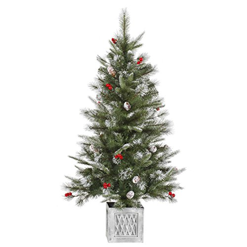 Vickerman Unlit Frosted Pine Cone and Berry Potted Artificial Christmas Tree, (Potted Artificial Christmas Trees)