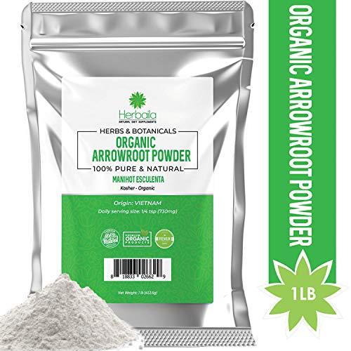 Arrowroot Powder - Organic Arrowroot Powder 1Lb. All-Natural Arrowroot Flour (Immune Health & Metabolism) USDA Certified Organic, Gluten-Free & Kosher, 1 Pound