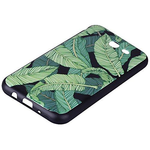 Funda Samsung Galaxy J3 2017(Versión US), EUWLY Negro Silicona Fundas para Samsung Galaxy J3 2017 Goma Gel Suave TPU Cárcasa Caso con Pintura Dibujos Impresión En Relieve Patrón Bumper Case Cover Ultr Hojas de plátano