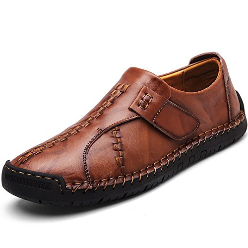 CEKU Men's Driving Causal Loafers Slip on Leather Handmade Flats Classic Comfortable Oxford Walking Shoes Brown 12 D(M) US/48 (Brown Velcro Casual Shoe)