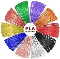 SUNLU PLA 3D Pen Filament Refills(10 Colors, 16.5 Feet Each), 1.75mm PLA 3D Printing Pen Filament, Free Stencils Ebook / 5Meters Each Color, Total 50 Meters
