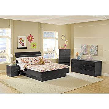 4 Piece Full Platform Bed, Nightstand, Dresser And Chest Bed Room Set,