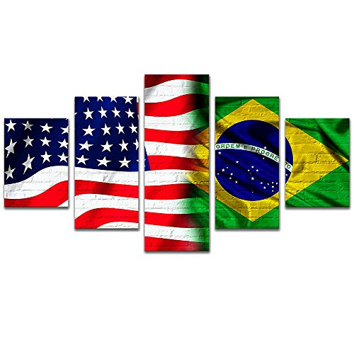 - Modern Canvas Print Wall Art for Bedroom 5 Panels Flag of USA and Brazil Giclee Artwork Wall Decor Painting Stars and Stripes Pictures with Framed Size 150x80cm