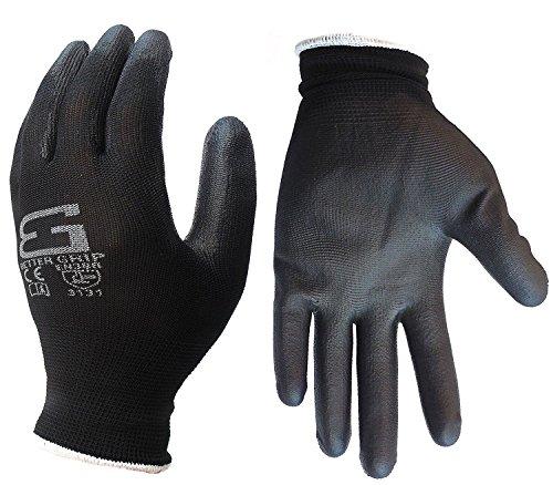 Better Grip BGSPU-BK-9 Ultra-Thin Polyurethane Palm Coated Glove, Nylon/Polyester Shell, Black (Large, 6 pairs)