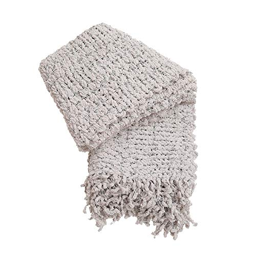VVFamily Knit Blanket Throw with Fringe Warm Cozy Home Décor Blankets for Sofa Bed Picnic Beach or Everyday Use by, Morn Grey Shell Pattern 50 x -