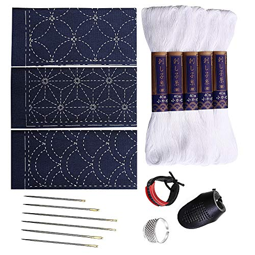 Sashiko kit | Yokota Sashiko Thread, Needles and Template Yume Fukin with Original English Manual, Thimble Sewing Set, Fabric, Japanese Textile (White Thread/Navy Dishcloth)