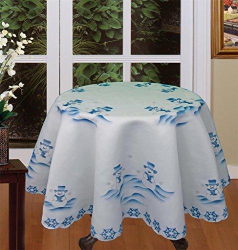(Creative Linens Holiday Christmas Snowman Tablecloth 70