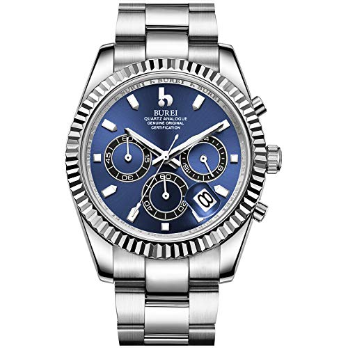 Chronograph Blue Mens Dial - BUREI Mens Chronograph Watch Blue Analog Dial with Date Window Sapphire Crystal Lens Silver Stainless Steel Case and Band