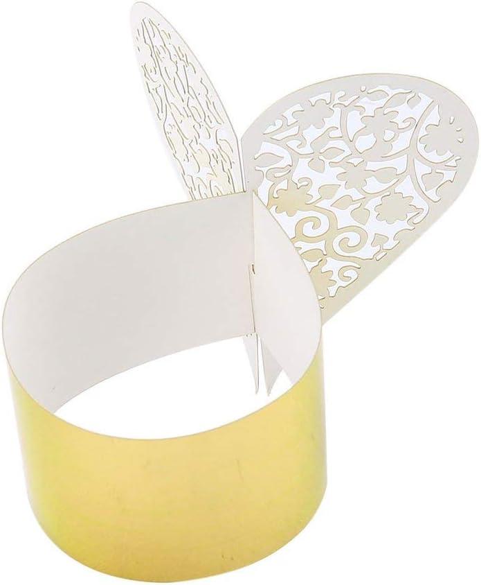 Color:golden 50pcs Kreative Herz-Form Laser-Schnitt Papierserviettenring f/ür Hochzeit Dinner Tischdekoration Servietten BuckleGold Kaemma