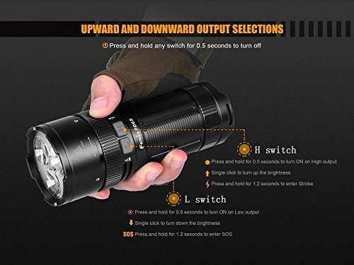 FENIX FD65 adjustable focus 3800 Lumen CREE LED military/ search rescue Flashlight with 2 X EdisonBright BBX3 battery carry cases bundle by EdisonBright (Image #4)