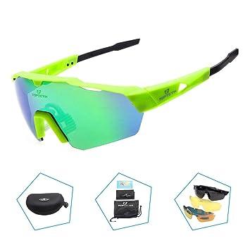 TOPTETN Gafas de Sol Deportivas polarizadas Protección UV400 Gafas de Ciclismo con 3 Lentes Intercambiables para