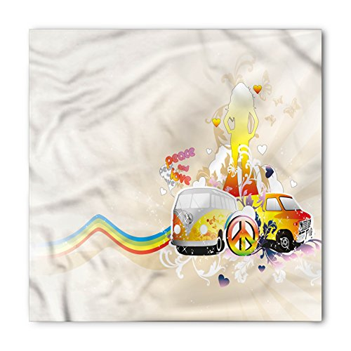 Hippie Bandana by Lunarable, Hippie Van Peace and Love Rainbow Colored Woman Silhouette Vintage Sixties Inspired, Printed Unisex Bandana Head and Neck Tie Scarf Headband, 22 X 22 Inches, Multicolor (Neck Vans Face)