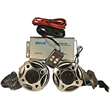 Shark 250 Watt 3 Channel Motorcycle Boat Snowmobile Audio System, Waterproof Stylish Speakers (Subwoofer Input), MP3 or Phone Input, Wired Remote, Model Shkr3090, Chrome