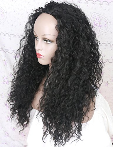 Curly Half Wigs (Layered Long Curly Half Synthetic Wig for Women Black Hair Replacement Wigs 22 Inch)