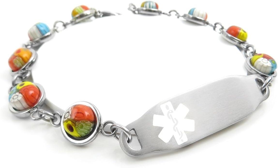 Pre-Engraved /& Customized Compazine Allergy Alert Bracelet Black /& White Millefiori Glass Pattern White My Identity Doctor