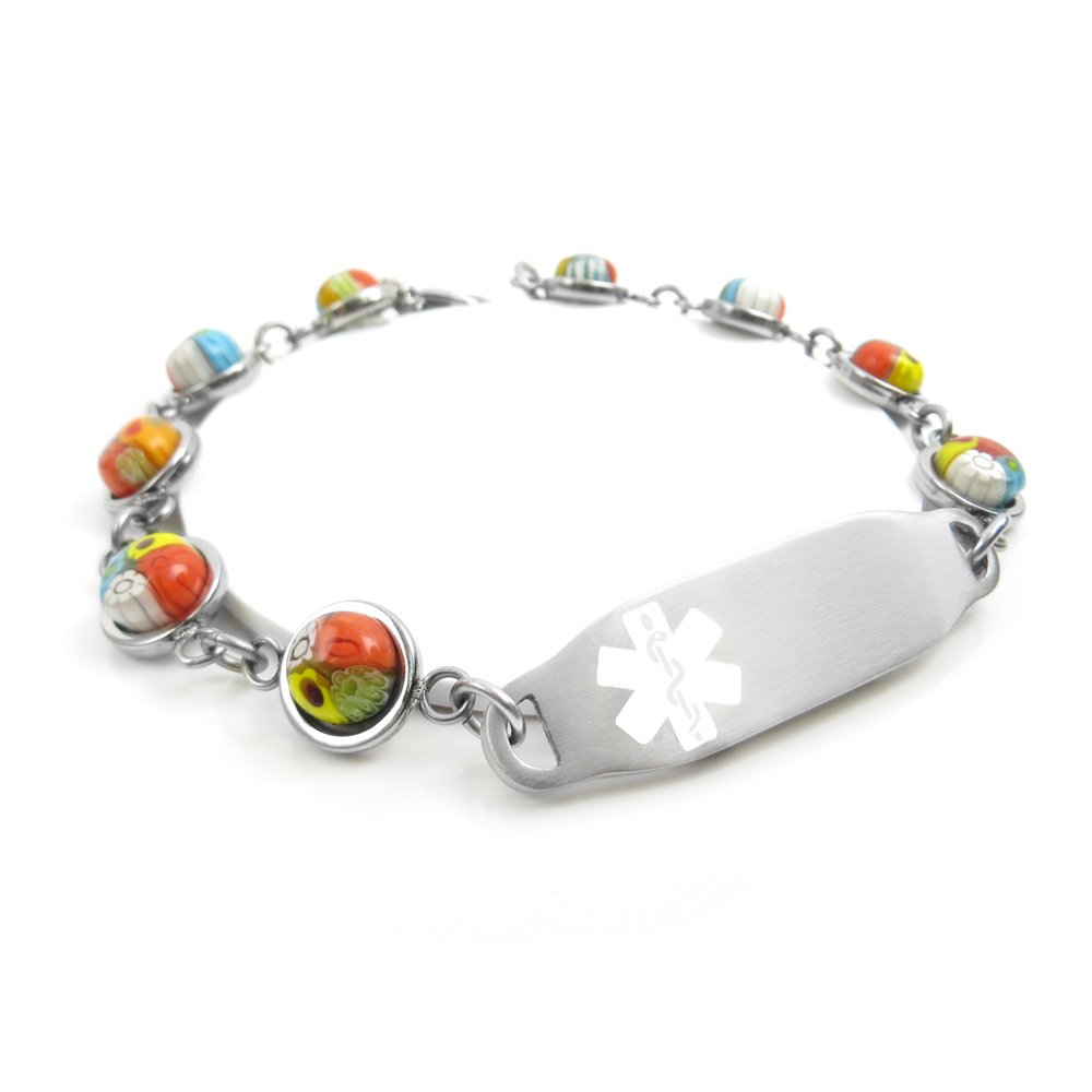White, Pre-Engraved /& Customizable Organ Donor Medical Bracelet Pattern Millefiori Glass My Identity Doctor