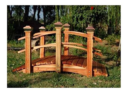 6 ft. Span Bridge w Curved Double Rail (Curved Double Rail w Lights) Curved Rail Garden Bridge