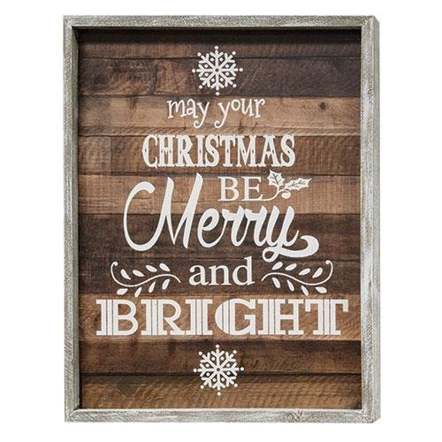 CWI Gifts May Your Christmas Be Merry and Bright Slat Look Framed Sign, Multicolored