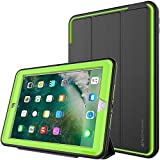 TECHGEAR D-FENCE Case for New Apple iPad 9.7' ( 2018 / 2017 ) - Slimline Shock Proof Tough Rugged Protective Armour Defence Smart Case with Detachable Screen Cover / Stand - Kids Schools Builders Workman Case [BLACK / GREEN] - for 5th & 6th Generation iPad 9.7'