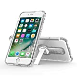 iPhone 7 Plus Case, Shock Absorption Slim-Fit Air Cushion Bumper Soft TPU Cover Case Drop Resistant Full Body Protection with Rotating Kickstand Crystal Clear for Apple iPhone 7 Plus 5.5
