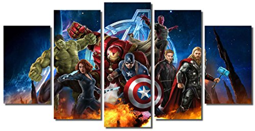 Picture Sensations Framed Canvas Art Print, Marvel Avengers Age of ultron Super Hero Wall Canvas Art - 60''x32'' by Picture Sensations