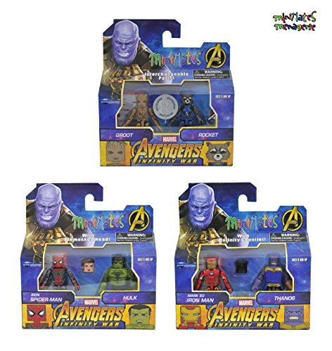 Marvel Avengers Infinity War Minimates Toys R Us Exclusive Set of 3 Two Packs include Iron Man Mark 50 with Thanos, Iron Spider-Man with the Hulk & Teenage Groot with Rocket Raccoon Action Figure