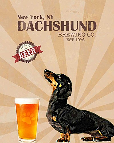 (Ideogram Designs Dachshund Brewing Co. Vintage Dog Poster Print 11x14 - Customizable City and State- Please email Directly After)