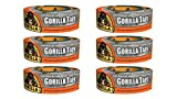 Gorilla Tape, Silver Duct Tape, 1.88'' x 35 yd, Silver, (Pack of 6)
