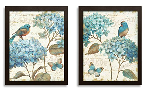 Gango Home Décor Gorgeous Teal and Cream Watercolor-Style Hydrangea Florals, Birds and Buterfly Prints by Daphne Brissonnet; Two 11x14in Brown Framed Prints; Ready to - Bird Brissonnet Daphne