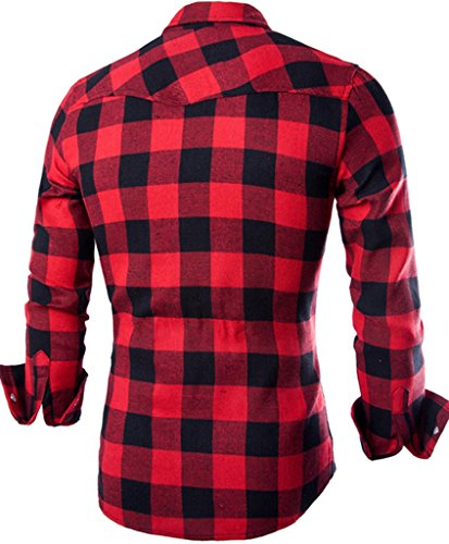 OCIA Men's Flannel Plaid Check Design Button Down Shirt Relaxed Fit Red X-Large
